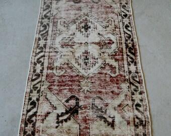 2'8''x5'5'' Vintage Rug, Distressed 1960s Rug, Handmade Oushak Carpet