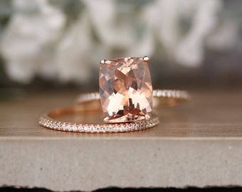 Bridal Ring Set with 11x9mm Cushion Morganite and Diamonds in 14k Rose Gold, Morganite Engagement Ring, Diamond Half Eternity Band