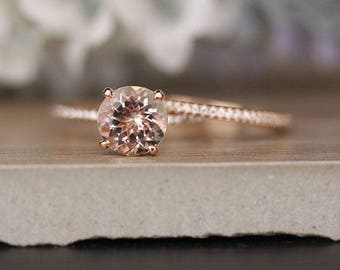 Bridal Ring Set with 8mm Round Morganite and Diamonds in 14k Rose Gold, Morganite Engagement Ring, Diamond Half Eternity Band, Promise Ring