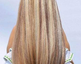 "10-11"" custom Doll Wig Blonde Brown highlights fits Journey Girls American Girls and Gotz ©EDD"
