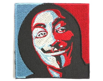 V For Vendetta Robot Hacker Hoody Mask Embroidered Iron On Patch