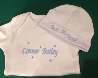 Personalised embroidered boy/girl  baby onesie and beanie