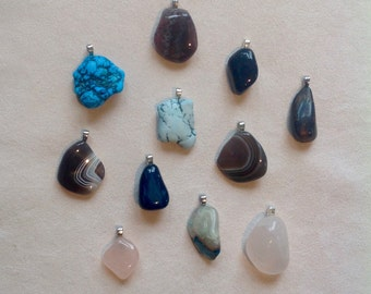 Pretty stones for pendants, mounted in gold or silver ring.