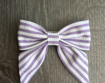 Lavender and white striped, Sailor bow, bow clip