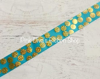 1.5 inch Tropic and Gold Hologram Silly Dot Ribbon - USDR - Polka Dot Ribbon