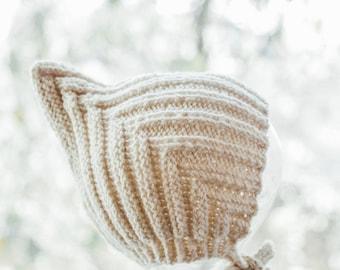 Bonnet Harper, Pixie Bonnet, Hand Knit Baby Hat, Pixie Hat, Sizes Newborn to Age 2