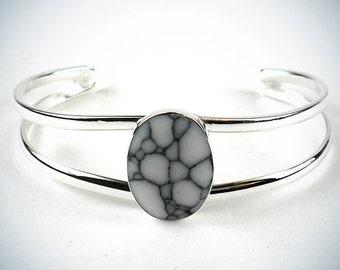 Howlite Mosaic Alpaca Silver Bracelet