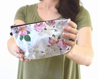"""Floral Print Zippered Cosmetic Bag, Make-up Bag, Toiletry Bag, Pouch - 8"""" x 5.5"""""""