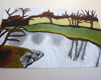 River by the 205 St Bridge Original Oil Stick Painting