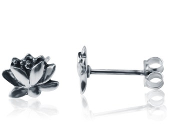 Sterling Silver Lotus Stud Jewelry, Silver Lotus Earrings, Symbolic Studs, Handcrafted Studs, Silver Lotus Flower Studs