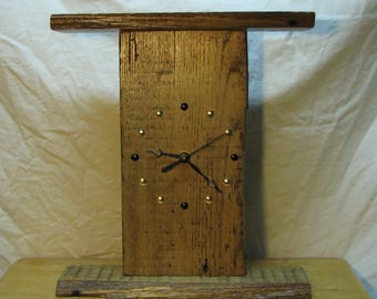 12 Inch Reclaimed Wood Mantle or Shelf Clock with Silent Quartz Motor