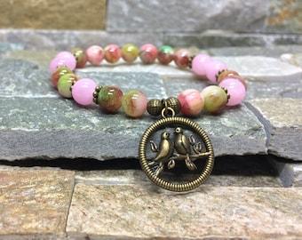 Bird bracelet jade gemstone bracelet