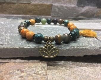 Lotus agate jade turquoise mala/bracelet