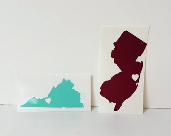 Custom State Vinyl Sticker Decal with Heart City