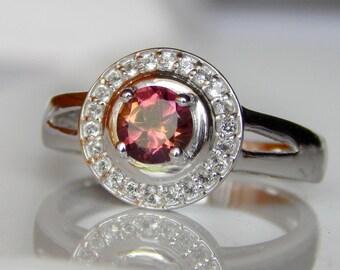 Natural Pink Tourmaline & White Topaz Ring. Pink Tourmaline Ring, Stylish Sterling Silver Ring, bridesmaid Gift set bridal wedding ring