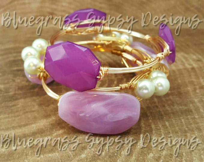 Spring Lilac Wire Wrapped Bangle, Bracelet, Bourbon and Boweties Inspired