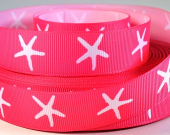 "Pink Starfish Ribbon - Nautical  Ribbon - 7/8"" Printed Grosgrain Ribbon"