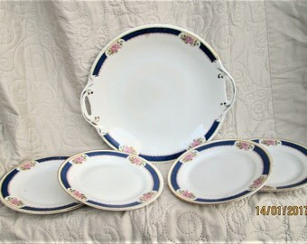 Vintage French Porcelain, french dessert set, porcelain plates, floral porcelain, antique dessert plates, french table, transferware plates