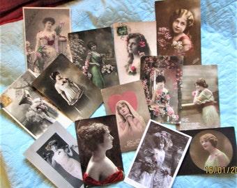 Vintage French Photos, french women, french art nouveau, vintage french fashion, french holiday cards, french design, fashion design