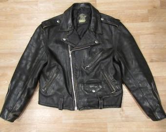 Vintage Punk Leather Moto Jacket   Motorcycle Jacket 80's   Rocker Jacket    80s English biker jacket   Made in England
