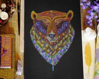 Bear original art, Bear Totem art, Bear Spirit Animal art, Colourful bear original art, Boho art, Spirit Animal art