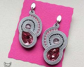 Soutache earrings grey and pink with steel pin-soutache earrings grey and pink with steel pins