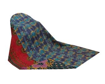 Reversible Floral Print Kantha Quilt Vintage Kantha Throw