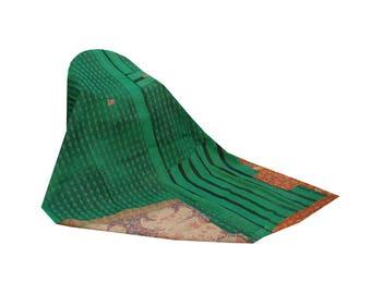 Vintage Kantha Quilt Reversible Cotton Sari Blanket