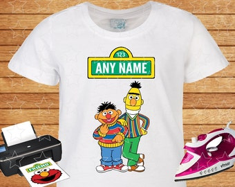 Any Name for design. Sesame Street Bert and Ernie, Iron on Transfer, Printable, Personalized Family shirts.