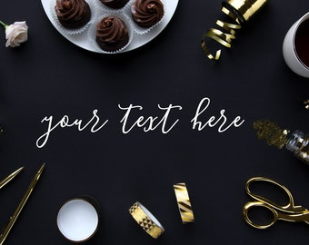 Styled stock photography (desk scene black/gold) - for blogs/businesses