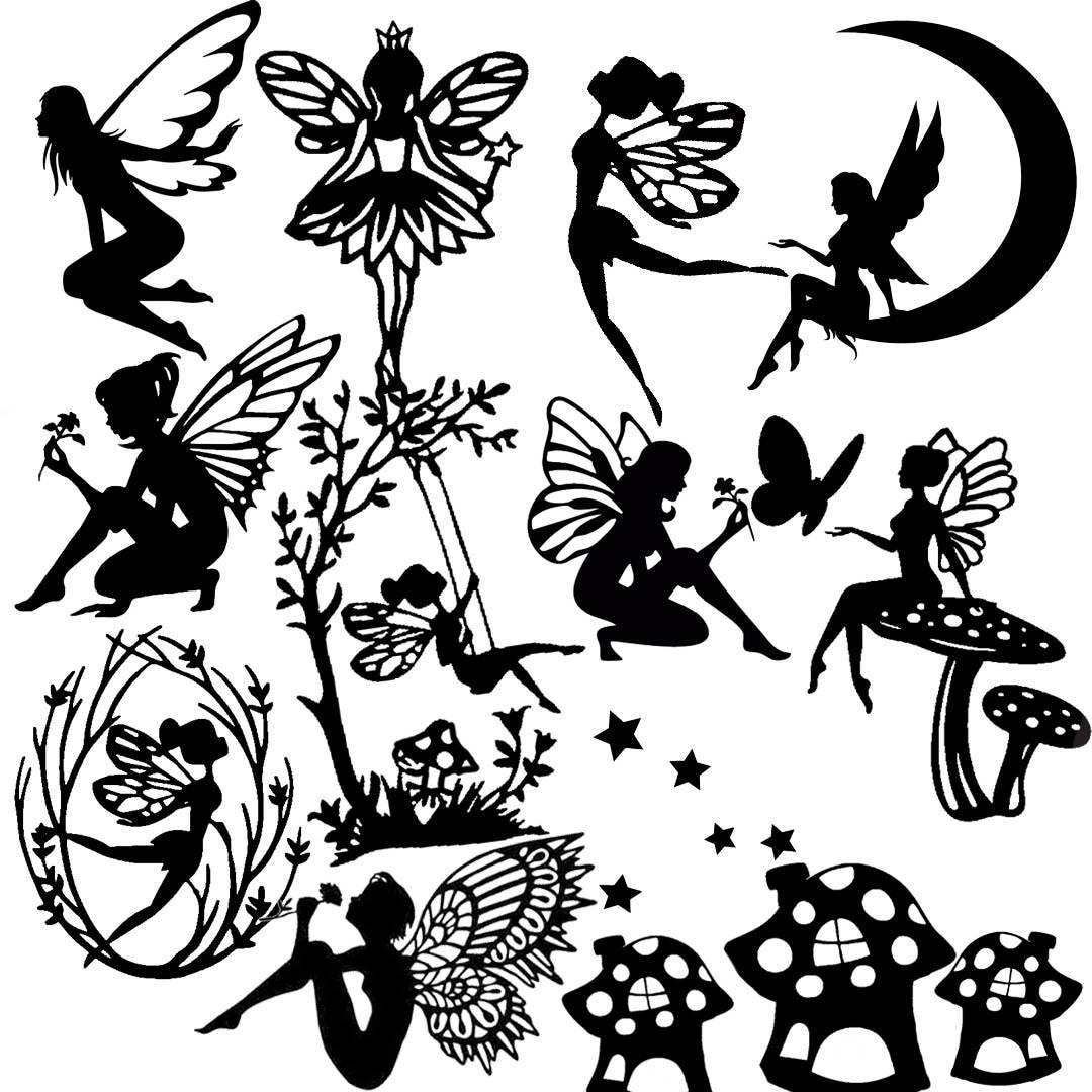 Die cut out fairy silhouette fairies topper x 13 stars for Fairy cut out template