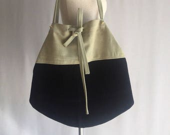 Recycled suede drawstring tote / upcycled suede tote / drawstring tote