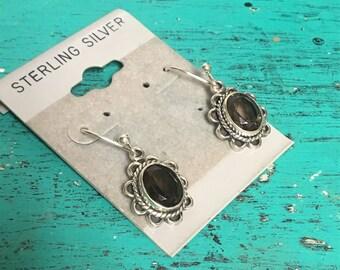 Vintage Sterling Silver Smoky Quartz Scalloped Oval Dangle Earrings