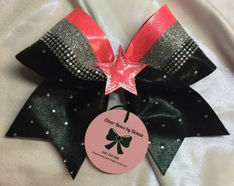 Rhinestone Cheer Bow with 3D Star