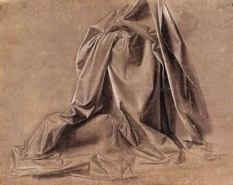 Copy of Leonardo Da Vinci , Drapery for a kneeling figure. Renaissance art. Drawing