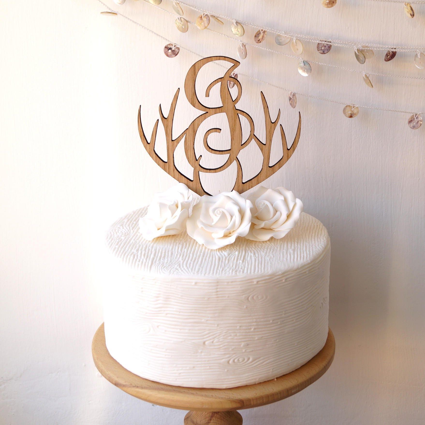 Monogram cake topper, wedding cake topper, antlers rustic wooden ...
