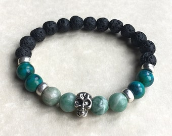 Mens Lava Rock,Green Jade,Chrysocolla,skull,gemstone bracelet,unisex,womens,mens gifts,spiritual jewellery,healing crystals,reiki charged