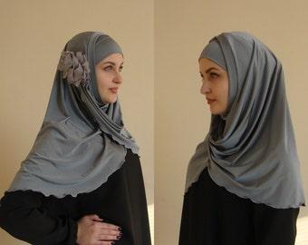 Hijab Two Piece,Al Amira style,gray Hijab,Pret A Porter Hijab,  hijab with flower, prayer scarf, Muslim hijab, islamic scarf, eid gift ideas