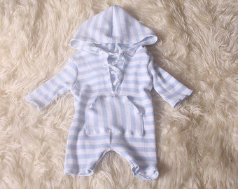 Photo shoot Prop,Newborn  Hooded Baby Boy Romper,With self ties,Hand made by me,UpCycles Materials,UK Supplier.I also ship Worldwide.