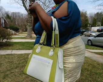 Custom Green and White Leather Handbag, Evening Bag, Leather Handbag, Shoulder Bag