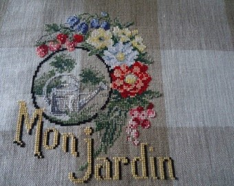 Cloth embroidered cross stitch: my garden - 10.5