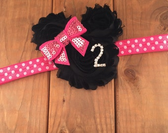 2nd Birthday Headband, Minnie Mouse Inspired, Hot Pink & Black Headband, Second Birthday Headband, Photo Prop