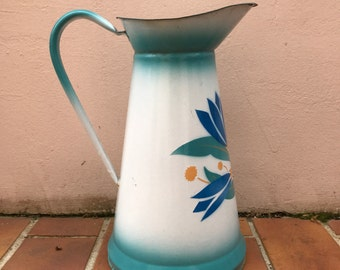 Vintage French Enamel pitcher jug water enameled white green flowers 16021724