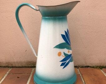 Vintage French Enamel pitcher jug water enameled white green flowers 16021724
