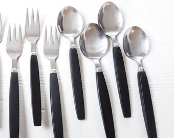 Bakelite flatware, Set of 12, knives, forks, spoons, Housewarming gift, Gift for mom, black handle flatware, gift for couple