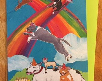 Rainbow Dogs Birthday Card
