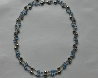 COOKIE LEE jewelry silver tone blue glass round beads strand necklace