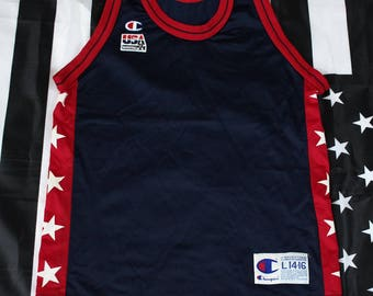 Vintage 90s Champion Team USA Basketball Blank Jersey Size Youth L 14-16 Adult XS-S Dream Team Olympics