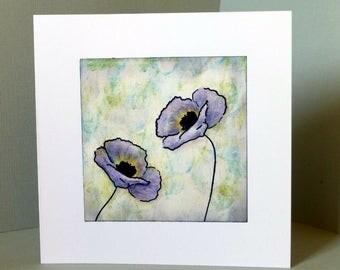 handmade card, blank card, birthday card, flower card, poppy card, thank you card