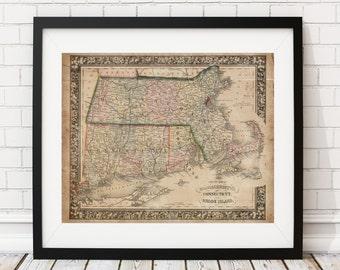 Massachusetts Map, Connecticut Map, Rhode Island Map, Vintage Map Art, Antique Map Print, Old Maps, Map of Massachusetts, Map of Connecticut